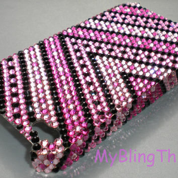Small 12ss V Design in Pinks & Black Crystal Diamond Rhinestone BLING Back Case for New Apple iPhone 5 handmade with 100% Swarovski Elements