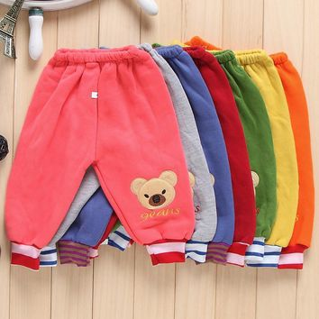 Winter warm cartoon bear baby boy pants thermal Sweatpants babies Sports trousers casual pants boy clothes baby girl clothing