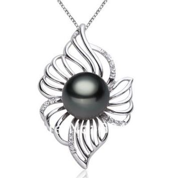 Natural Black Tahitian Pearl Necklace & Pendant 925 Sterling Silver 10-11Mm Pearls Jewelry For ,Best Gift