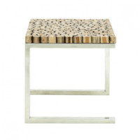 Stainless Steel Teakwood Side Table