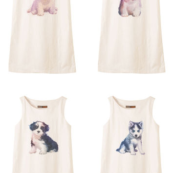 Dog hand painted watercolor Printed Vintage Linen Mini Shift Dress WDS_01