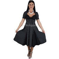 60's rockabilly pin-up Polka Dot Black Party Swing Dress - Black / Black