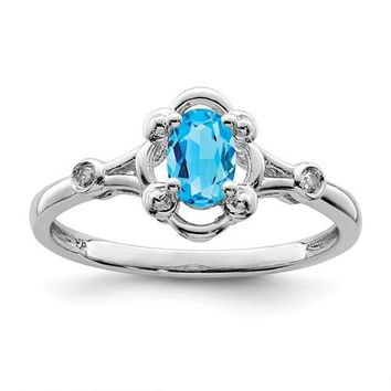 Sterling Silver Swiss Blue Topaz Oval & Diamond Ring