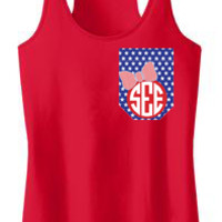 Monogrammed Printed Pocket Racerback Tank Top | Marley Lilly