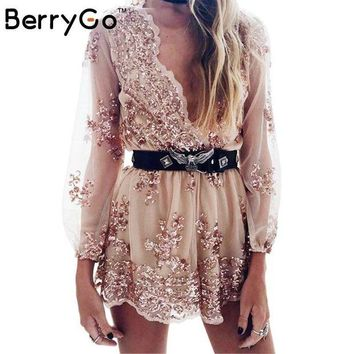 ONETOW BerryGo Deep v sequin playsuit women Tassel short mesh bodysuit summer beach club elegant jumpsuit rompers embroidery leotard
