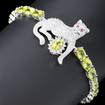 Classic Royal Green Peridot Panthere Bracelet