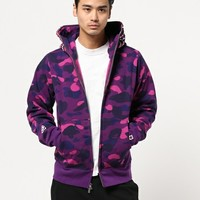 Purple Camo Full Zip Bape Shark Hoodie