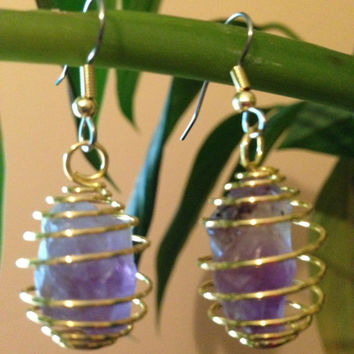 Amethyst Crystalline Quartz Rough Cut Stone Earrings, Bird Cage Surgical Stainless Steel , Reiki Charged