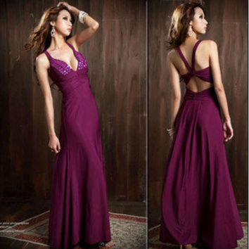 Women Low Cut Halter Sleeveless Solids Beading Formal Gown Full-length Dresses