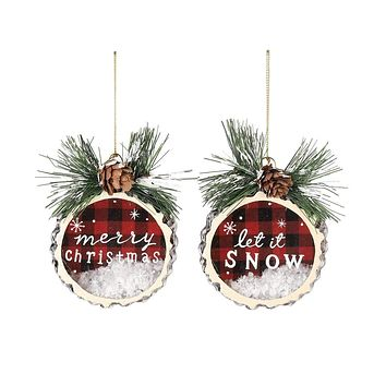 Wood Slice Glass Ornaments - 2 Styles
