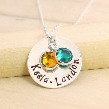 Personalized Mother's Necklace - Birthstone Necklace - Hand Stamped Sterling Silver Name Disc - Name Necklace - Name Jewelry - Gift for Mom