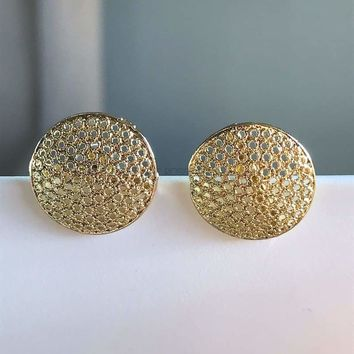 Filigree Circle 18kts Of Gold Plated Studs Earrings