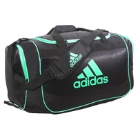 adidas Defender Medium Duffel, One Size/13 x 24 x 12-Inch, Black/Green Zest