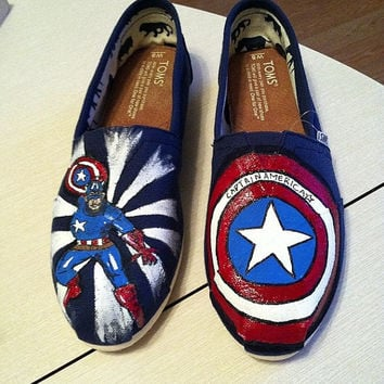 Captain America Custom Painted Super Hero TOMS