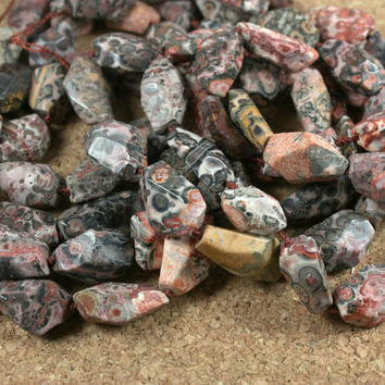Leopard Skin Jasper Nugget Beads - Pink and Grey Smooth Beads, 16 inch strand