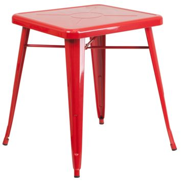 Tolix Style 24'' Square Red Metal Indoor-Outdoor Table