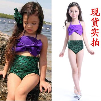 2016 Trend European Fashion children's swimsuit little girl bikini Mermaid kid's swimwear children Bikini top high quality