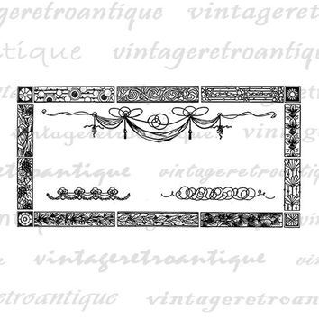 Printable Digital Design Elements Header Embellishments Download Graphic Formal Fancy Image Vintage Clip Art Jpg Png  HQ 300dpi No.355