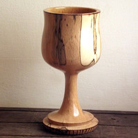 Wood Goblet - Turned from Spalted Beech. Wood Chalice, Woodturning, Wood Goblet, Altarware, Pagan, Wiccan