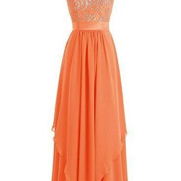 Women's Formal Long Chiffon Lace Sleeveless A Line Evening Prom Bridesmaid Dress