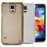 Hard Rubberized Case for Samsung Galaxy S5 (Black Gold Clear 3 Pack)