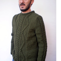 Military Green Cabled Men Sweater Hand Knit Wool Sweater Men Fashion Sweater NEW