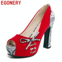 EGONERY fashion pumps women 2017 summer autumn platform high heels red wedding shoes peep toe bowties plus size woman pumps 43
