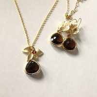 Earrings and necklace set  / Mocha glass drop dangle earrings and matching necklace / valentines gift under 50