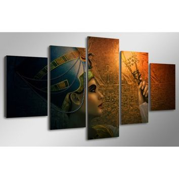 5 PCS  Home Decor Queens of Egypt  HD Unframed Oil Painting Home Decorative Painting Wall
