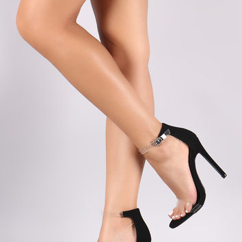 Transparent Ankle Strap Open Toe Nubuck Stiletto Heel