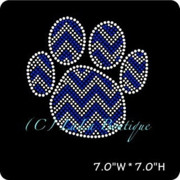 Blue chevron paw print iron on hot fix rhinestone transfers - DIY chevron paw mascot school team logo -heat - bling