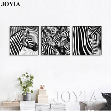 3 Piece Wall Art Paintings Black and White Zebra Pictures Indoor Living Room Bedroom Decor Zebras Canvas Prints (No Frame)
