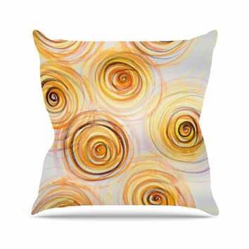 "Maria Bazarova ""Spirals"" Yellow Gold Outdoor Throw Pillow"