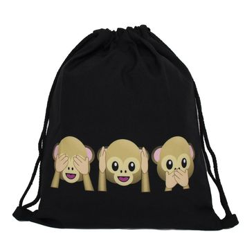 Monkey Emoji Drawstring Bags Cinch String Backpack Funny Funky Cute Novelty