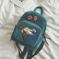 2017 new ethnic backpack bird embroidered folk style felt back pack vogue female school bag bohemia casual bag mini schoolbag