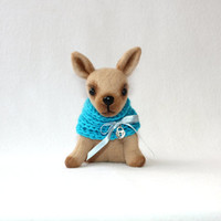 Little dog, Chihuahua, blue, cyan, scarf, decoration plushie, puppy, for the home, for her, gifts ideas, for kids, toys, march, spring finds