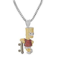 Bart Simpson Skateboard Pendant Franco Necklace Set Multi Color Lab Diamonds