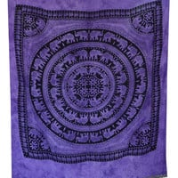 Elephant Mandala Tapestry, Hippie Wall Hanging, Indian Bohemian Tapestry, Gypsy Bed Cover, Elephant Wall Hanging,Queen Purple Bed Sheet