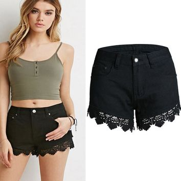 New fashion lace shorts crochet hollow thin pants stitching jeans shorts
