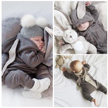 Newborn Baby Clothes Cute Rabbit Ear Costume Chidlren Animal Rompers Overalls Autumn Winter Hooded Zipper Baby One Piece Clothes