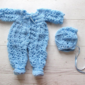 Crochet baby overall  and hat , baby boy overall , blue bonnet,  blue baby overall , crochet baby clothes , newborn overall