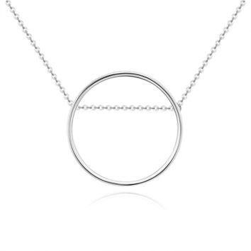 925 Sterling Silver Women Minimalist Circle Pendant Necklace Jewelry, White Gold