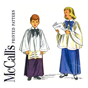 Childrens Choir Robe Pattern Chest 26 28 McCalls 1957 Yoked Choir Cotta Skirt Vestments Altar Server Costume Uniform Vintage Sewing Pattern