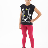 FOREVER 21 GIRLS London Paris Daisy Tank (Kids) Black/White
