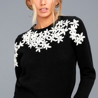 Daisy Do Right Black Embroidered Sweater