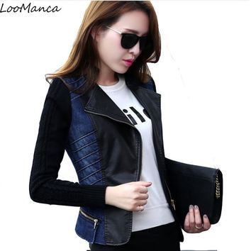 Trendy 2018 New Winter Denim Women Coat Zipper Front PU Leather Patchwork Jeans Jacket Women Light Washed Denim Jackets AT_94_13