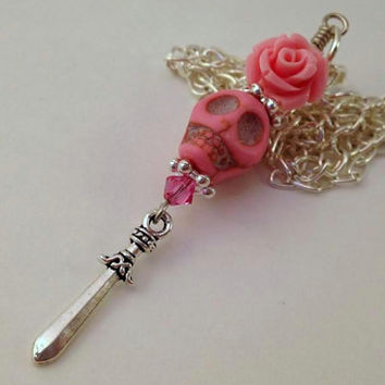 Pink Skull and Rose Necklace - Sword Necklace - Pink and Silver Necklace - Swarovski Jewelry - Pink Rose - Pink Skull - Silver Sword