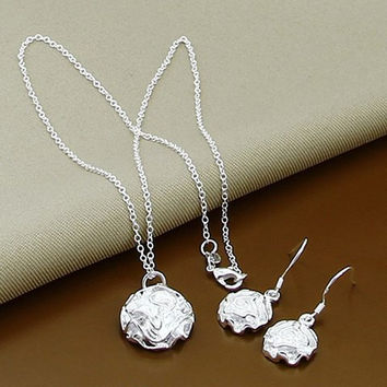 Silver Alloy Floral Necklace with Earrings