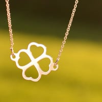 Valentines Necklace Four Leaf Clover Necklace Clover necklace Good luck necklace Lucky necklace Necklace also in st. Silver Sweet Simple
