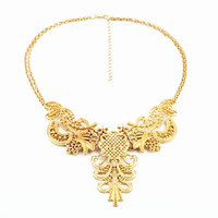 Metal Golden Lace Cut Out Design Necklace